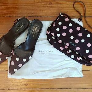 Vintage Kate Spade polka dot mules kitten heels